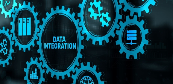 Data integration concept on abstract background