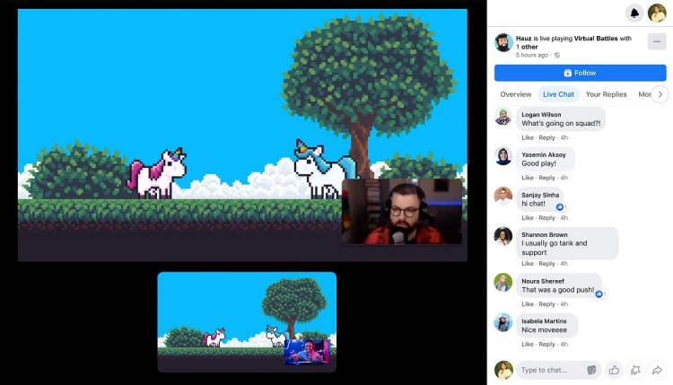 Facebook Gaming's co-streaming in action.