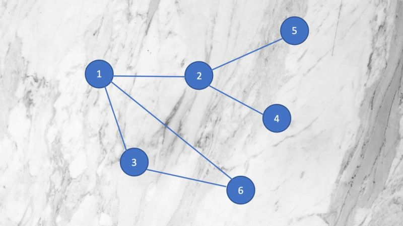 An image of interconnected nodes set against a marble background.
