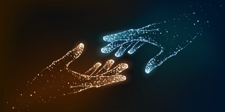 An image of two hands reaching towards each other. One hand is blue and the other hand is orange. Both are made of vectors.